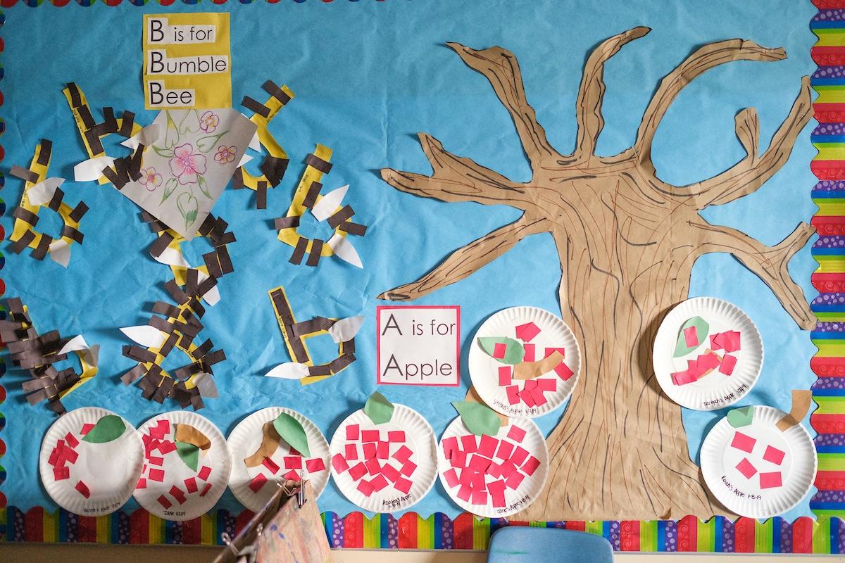 colorful bulletin board in Head Start program